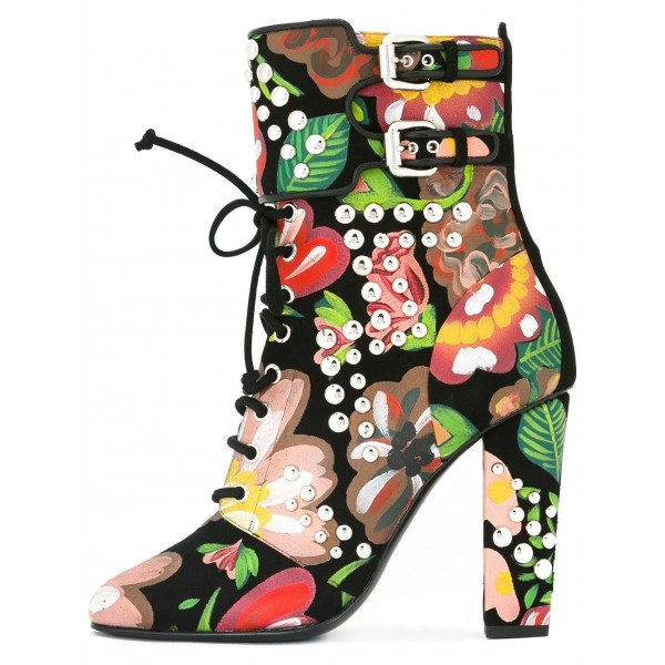 Floral and Studs Lace up boots Buckles Chunky Heels Ankle booties image 1