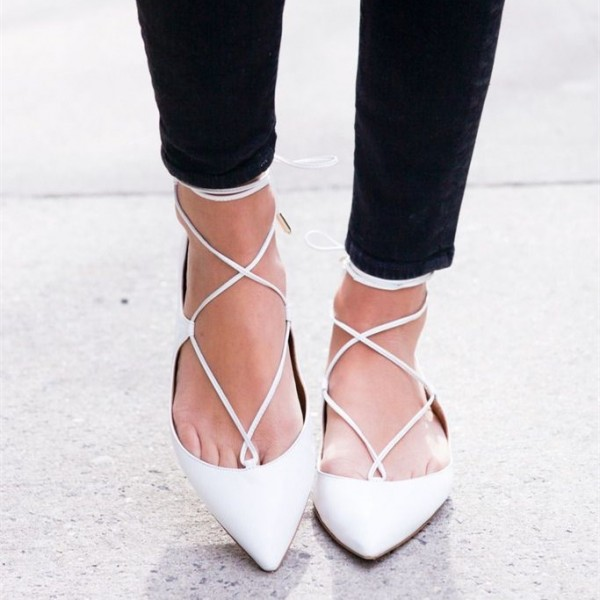 White Pointy Toe Lace up Flat Casual Shoes for Women image 3