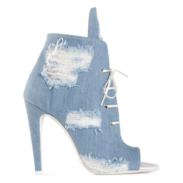Women's Denim Boots Stiletto Heels Peep Toe Heels Ankle Booties image 6