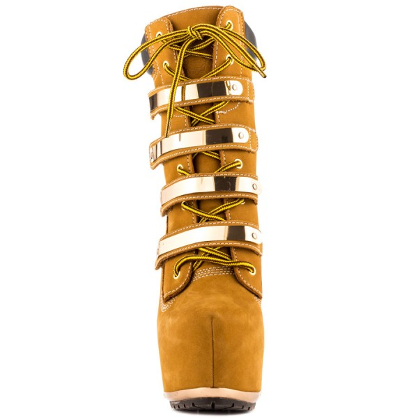 Women's Mustard Buckle Lace Up Platform Boots Stripper stiletto heels image 6