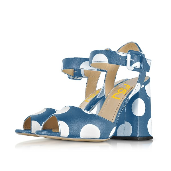 Women's Blue and White Polka Dots Chunky heel Sandals  image 1