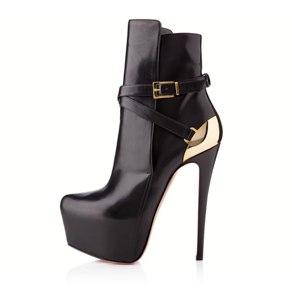 Black and Gold Buckles Platform Boots Stripper Heels Stiletto Boots image 5