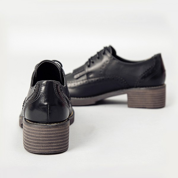 Women's Oxfords Brogues Leila Black Fringed Lace-up Vintage Shoes image 4