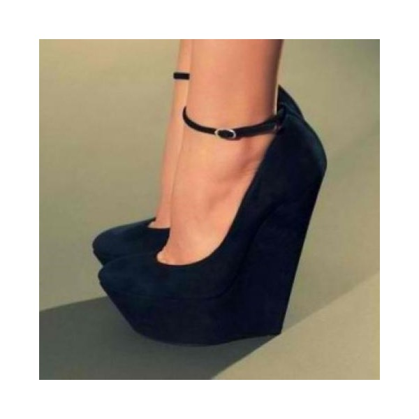 Black Wedge Heels With Ankle Strap