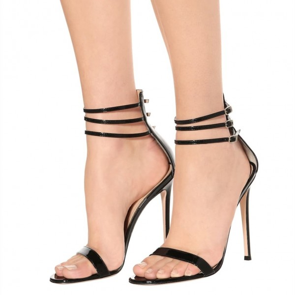 Lelia Black Stiletto Heels Open Toe Lace up Buckles Strappy Sandals