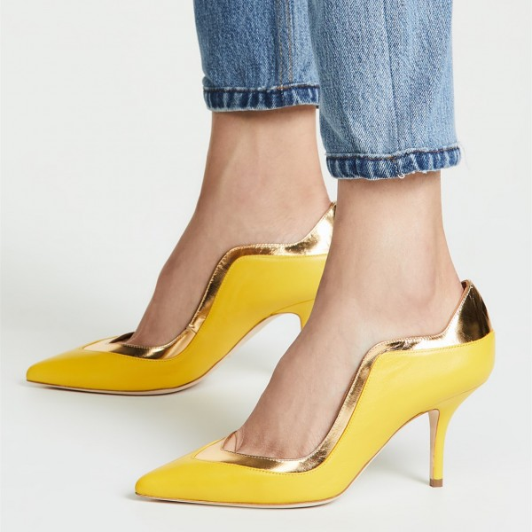 fbd152aa70d Lemon Yellow and Gold Pointy Toe Stiletto Heels Pumps for Party ...