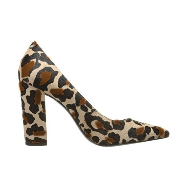 Leopard Print Heels Pointy Toe Chunky Heels Suede Pumps image 2