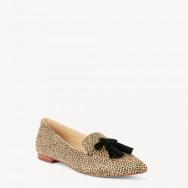 Khaki Leopard Print Flats Suede Loafers for Women with Tassels image 3
