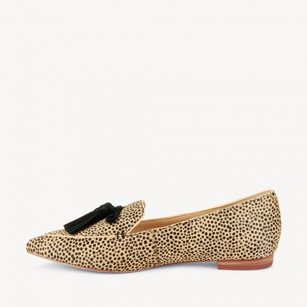 Khaki Leopard Print Flats Suede Loafers for Women with Tassels image 4
