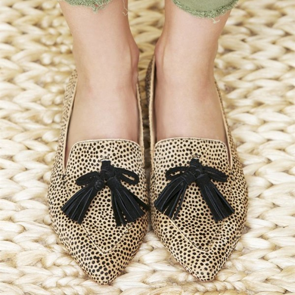 Khaki Leopard Print Flats Suede Loafers for Women with Tassels image 2