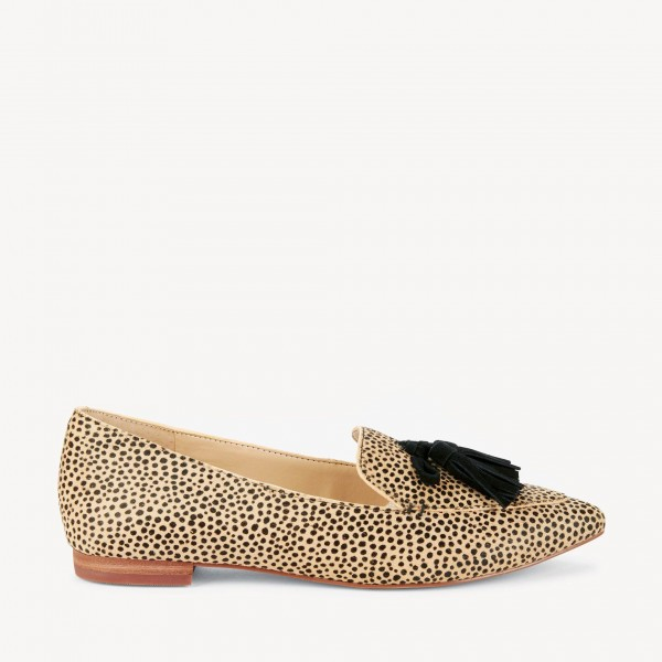 Khaki Leopard Print Flats Suede Loafers for Women with Tassels image 5
