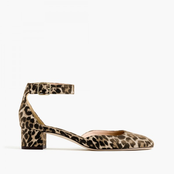 Leopard Print Heels Ankle Strap Chunky Heel Square Toe Sandals image 2