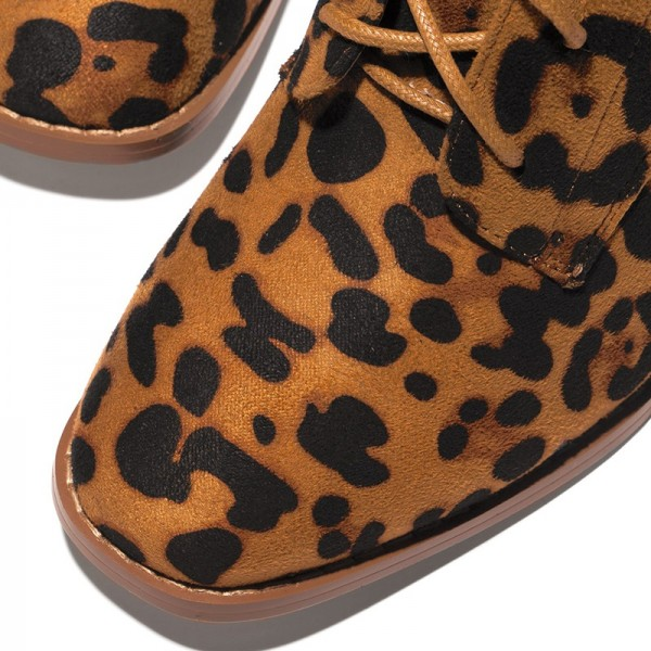 Leopard Print Boots Chunky Heel Lace Up Ankle Boots image 2