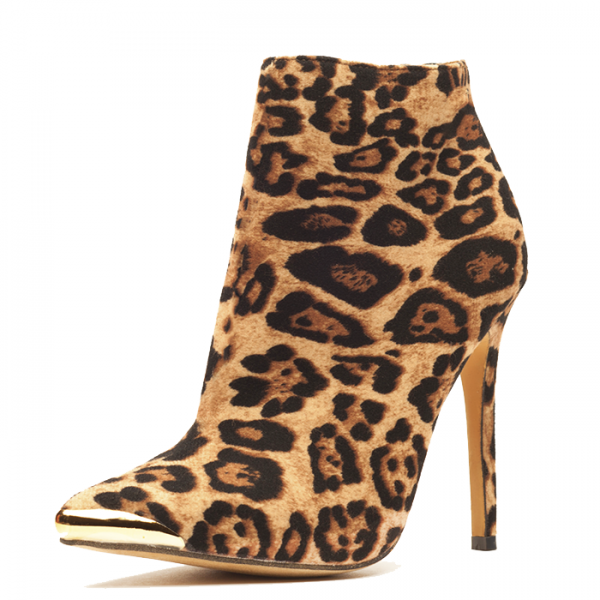 Leopard Print Boots Stiletto Heels Fashion Ankle Boots US Size 3-15 image 1