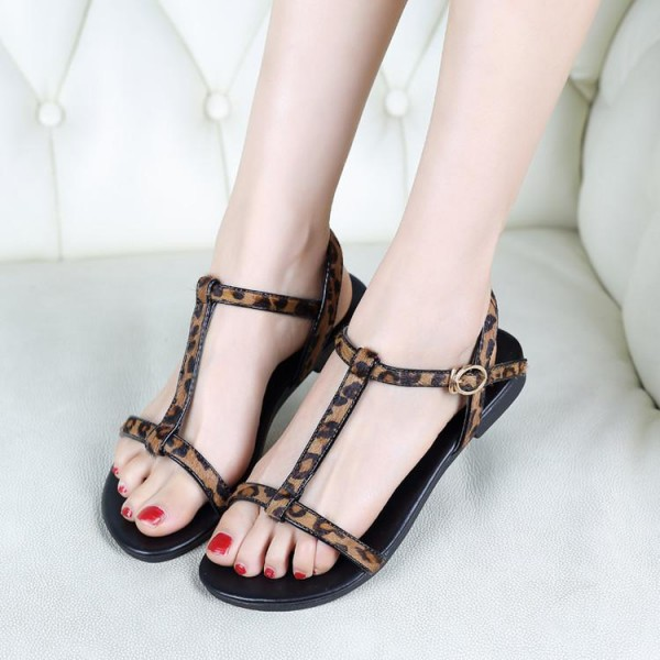 Women's Brown T-strap Leopard Print Flats Sandals image 1