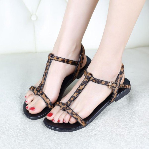 Women's Brown T-strap Leopard Print Flats Sandals image 2