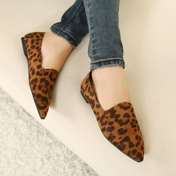 Leopard Print Flats Brown Slip-on Comfortable Shoes image 3