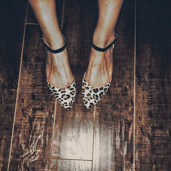 Leopard Print Flats Pointy Toe Ankle Strap Flat Shoes image 1