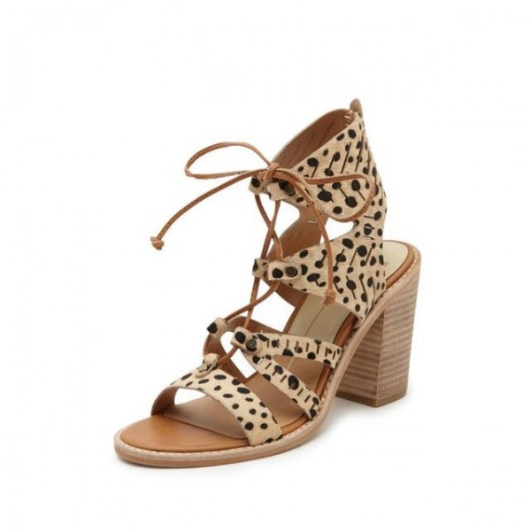 Leopard Print Heels Chunky Heel Lace-up Sandals image 1