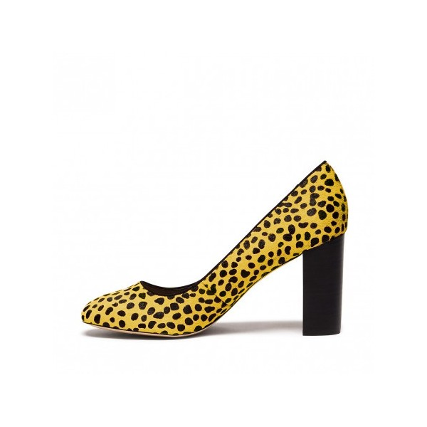 Leopard Print Heels Chunky Heel Round Toe Pumps for Female image 1