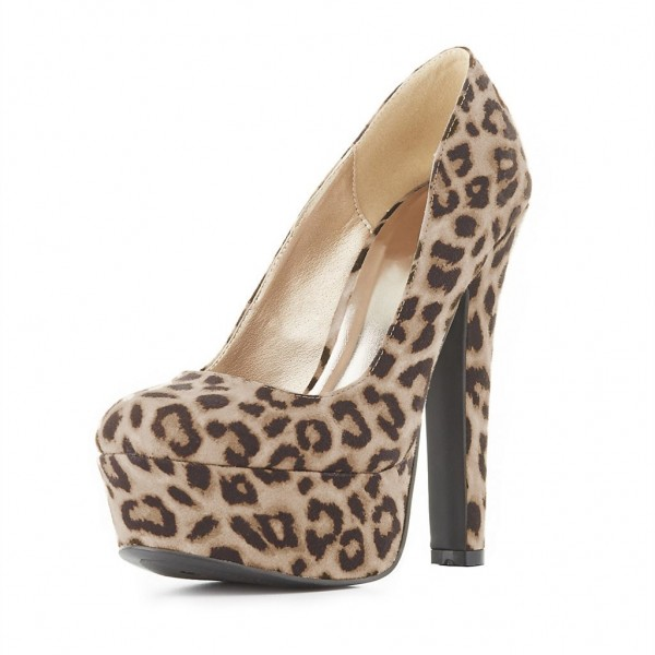 7ecbd017991 Leopard Print Heels Closed Toe Platform Pumps Chunky Heels for Party ...