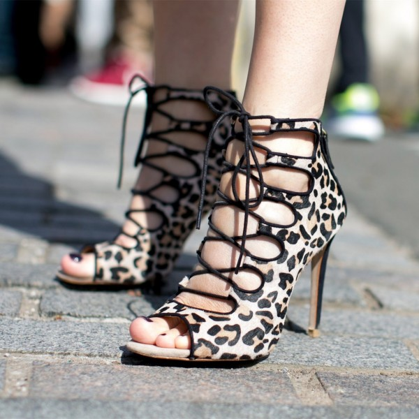 Khaki Leopard Print Shoes Lace Up Strappy High Heels Stripper Shoes  image 1