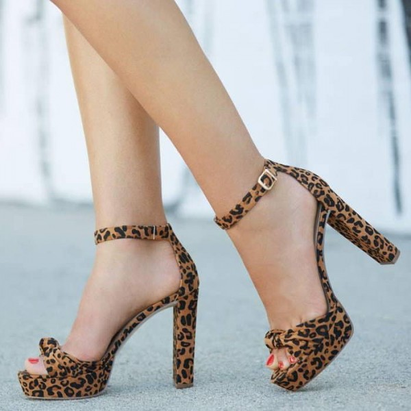 7008b8f7ad4 Leopard Print Heels Open Toe Chunky Heels Platform Sandals for Party ...