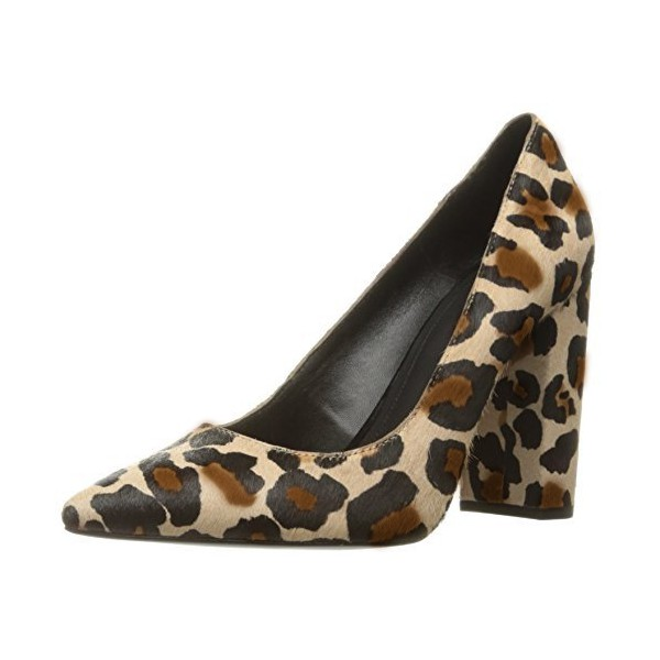 Leopard Print Heels Pointy Toe Chunky Heels Suede Pumps image 1