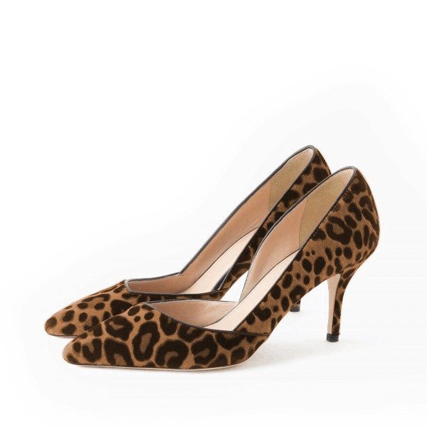 Leopard Print Heels Pointy Toe Stilettos Suede D'orsay Pumps image 1
