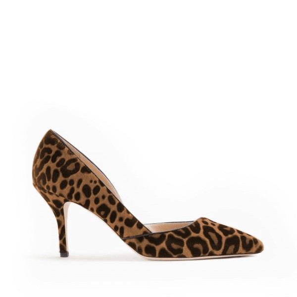 Leopard Print Heels Pointy Toe Stilettos Suede D'orsay Pumps image 2