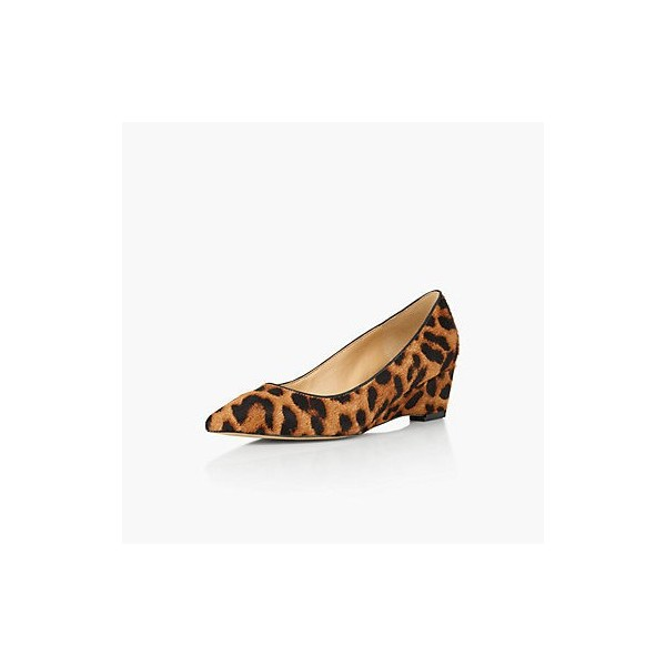 Leopard Print Heels Suede Pointy Toe Wedge Heel Pumps image 1