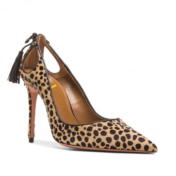 Fashion Brown Stiletto Heels Pointy Toe Leopard Print Tassels Pumps  image 5