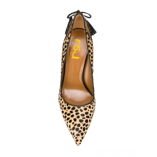 Fashion Brown Stiletto Heels Pointy Toe Leopard Print Tassels Pumps  image 3