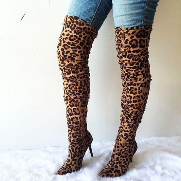 Suede Leopard Print Boots Thigh High Stiletto Heels Slouch Boots image 1
