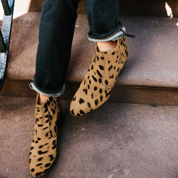 Women's Brown Leopard Print Fashion Boots Chunky Heels Ankle Boots image 1