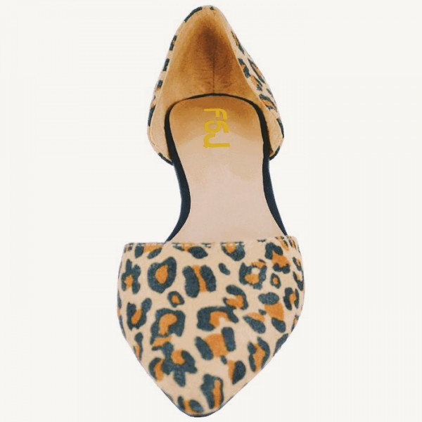 Leopard Print Flats Pointy Toe Double D'orsay Pumps Shoes image 3
