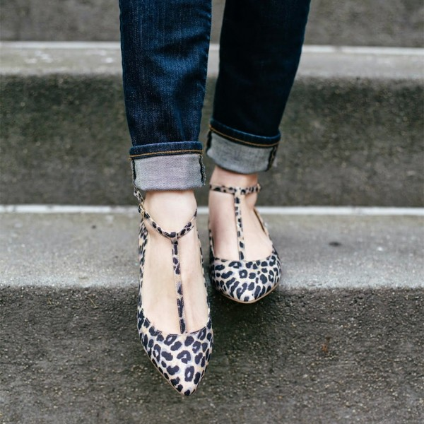 Comfortable Leopard Print Flats T-strap Pointy Toe Suede Shoes image 2