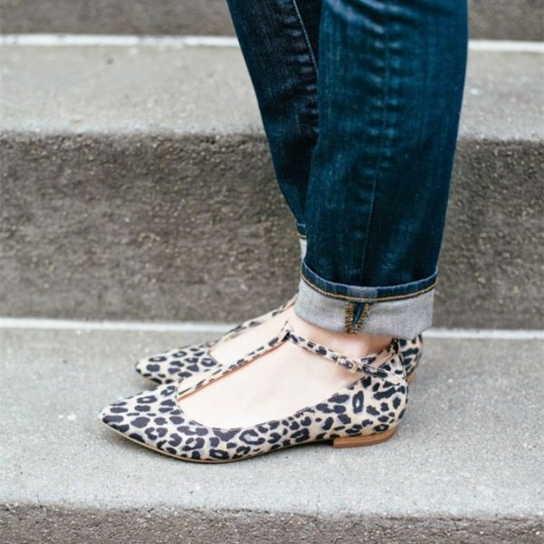 Comfortable Leopard Print Flats T-strap Pointy Toe Suede Shoes image 1