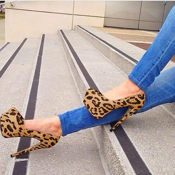 Leopard Print Stiletto Heels Suede Platform Pumps High Heel Shoes image 1