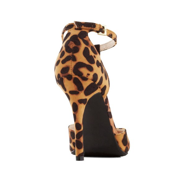 Leopard Print Heels T-strap Pointy Toe Suede Pumps image 4