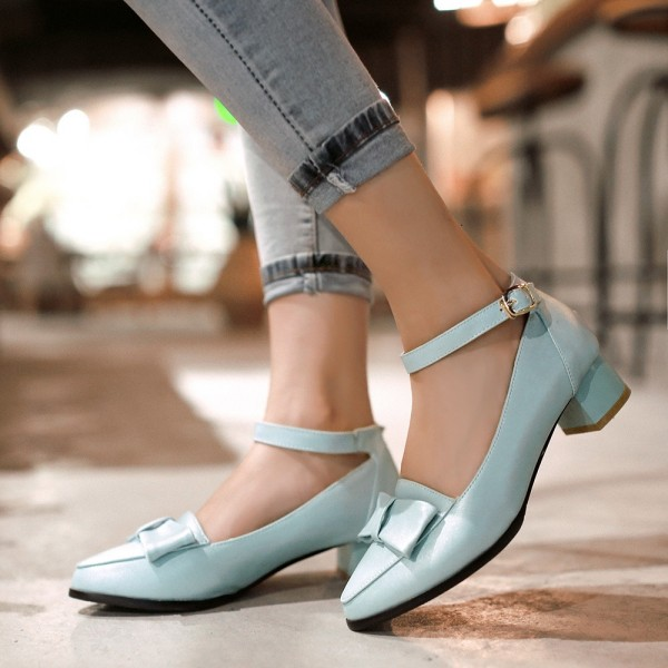 Light Blue Ankle Strap Chunky Heels Bow Pumps School Shoes image 1