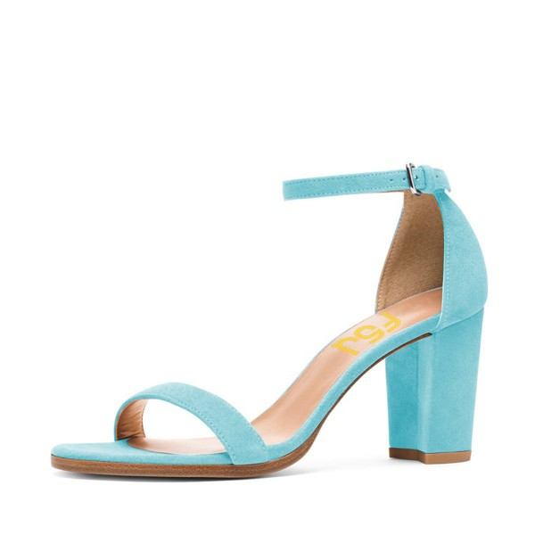 Light Blue Ankle Strap Sandals Suede Block Heels for Ladies image 1