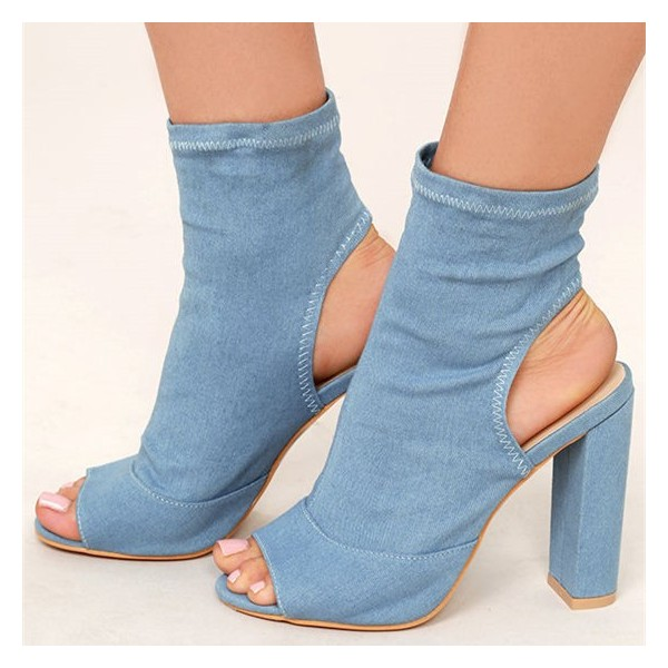 Light Blue Denim Boots Peep Toe Slingback Chunky Heel Sock Boots image 1