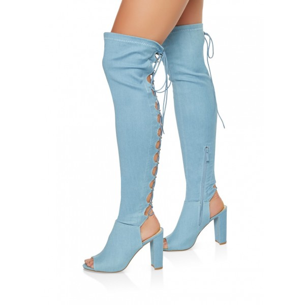 32e0bacb2bb Light Blue Denim Chunky heel Lace Up Boots Over-the-knee Boots