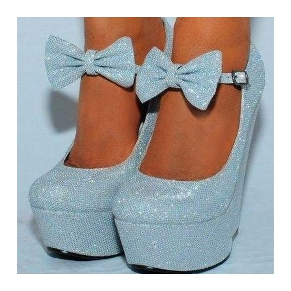 Light Blue Closed Toe Wedges Sparkly Platform Pumps for Prom image 1