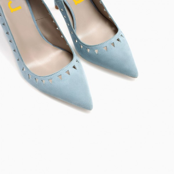 Women's Light Blue Hollow out Stiletto Heels Pumps image 4