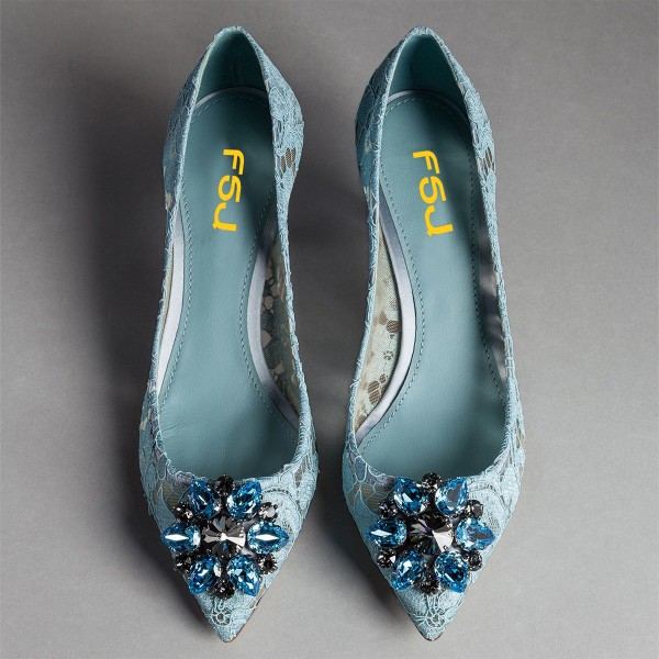 Light Blue Wedding Shoes Lace Heels Pointy Toe Rhinestone Pumps image 3