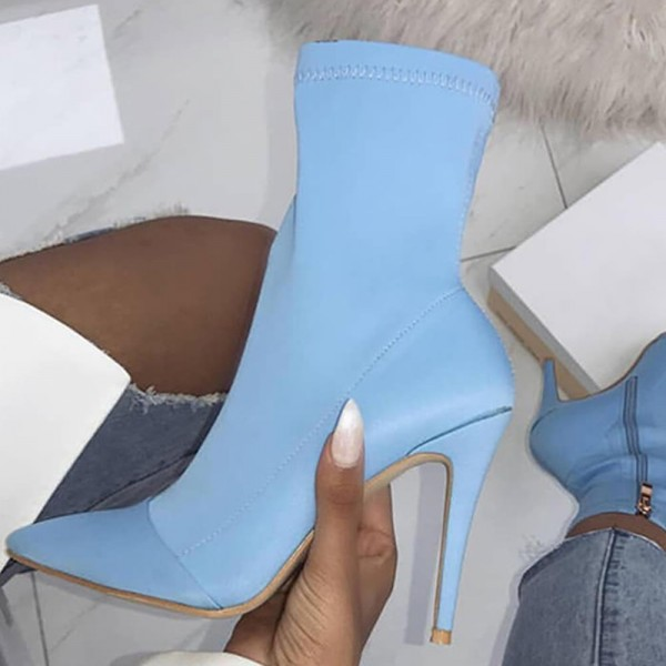 Light Blue Lycra Sock Boots Pointed Toe Stiletto Heel Mid Calf Boots image 2