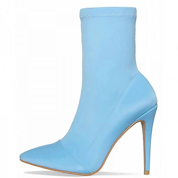 Light Blue Lycra Sock Boots Pointed Toe Stiletto Heel Mid Calf Boots image 1
