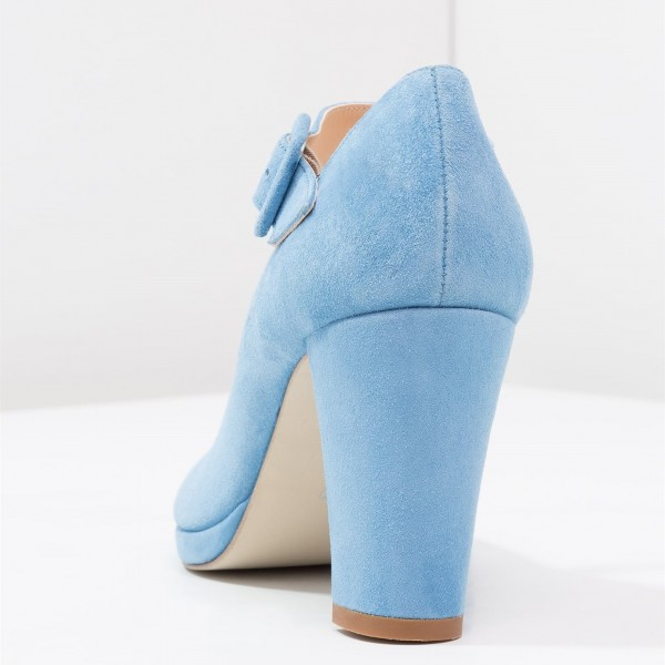 Light Blue Mary Jane Pumps Round Toe Block Heels Office Shoes image 3
